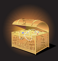 Golden treasure chest coins on dark background vector
