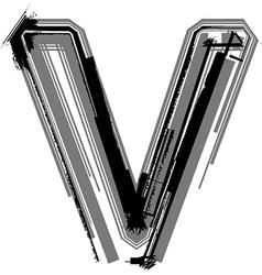 Grunge font Letter v vector