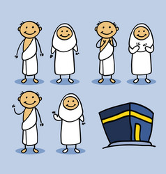 hajj pilgrimage stick character vector image