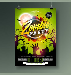 halloween zombie party flyer with vector image