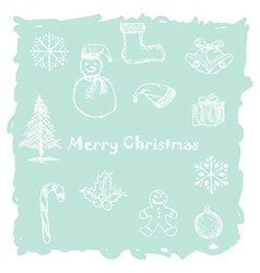Hand drawn of white christmas icons elements in vector