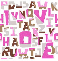 Hand lubberly cut pink alphabet seamless vector