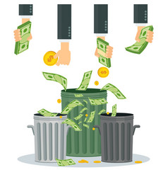 hands wasting money into bin vector image