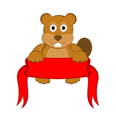 happy beaver holding an empty ribbon vector image