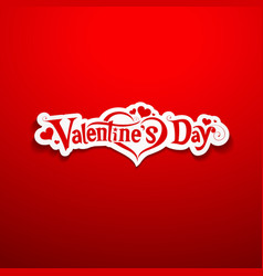 Happy Valentine Day lettering on red background vector image