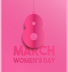 happy womens day pink paper cut greeting card vector image