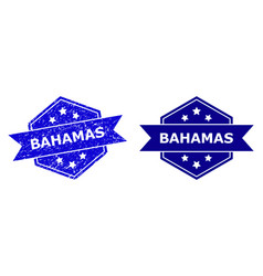 Hexagonal bahamas stamp with scratched style and vector