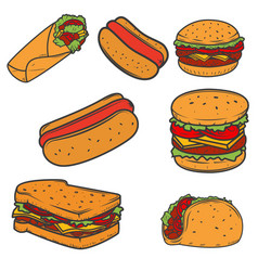 Hot dog burger taco sandwich burrito set of fast vector