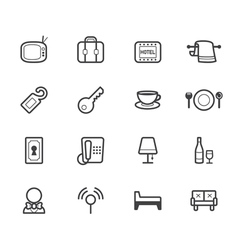 Hotel element black icon set on white background vector
