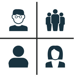 human icons set collection of user businesswoman vector image