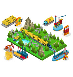 Isometric oil production composition vector