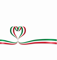 Italian flag heart-shaped ribbon vector