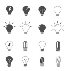 Lightbulb and led lamp icons set vector