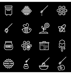Line honey icon set vector