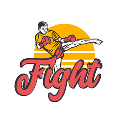 Logo design fight with muay thai martial artist vector