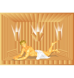 Man in sauna vector
