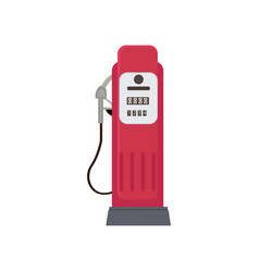 Modern compact red petrol dispenser isolated on vector