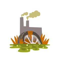 Nature pollution factory toxic waste dump vector