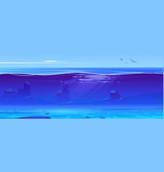 Ocean or sea underwater background cross section vector