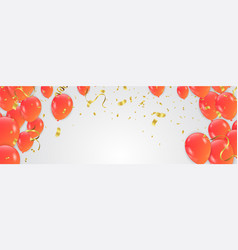 Orange balloons confetti and ribbons celebration vector