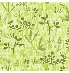 Paint textured green plants seamless pattern vector image