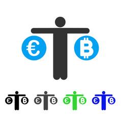 Person compare bitcoin and euro flat icon vector