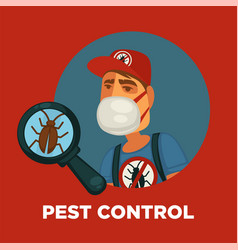 Pest control promotional poster with worker and vector