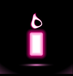 Pink glowing neon burning candle icon lamp vector
