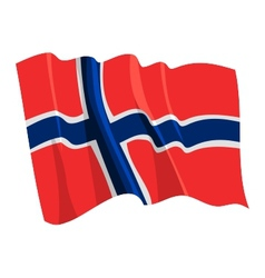 Political waving flag of norway vector