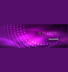 purple neon dotted circle background vector image