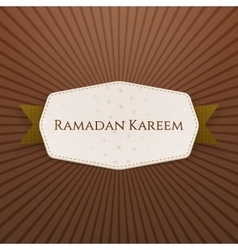 Ramadan Kareem festive Banner with Text and Ribbon vector
