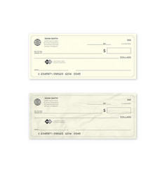 Realistic blank bank check new and crumpled cheque vector