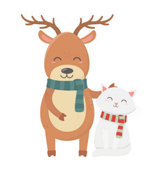 reindeer and cat with scarf celebration merry vector image