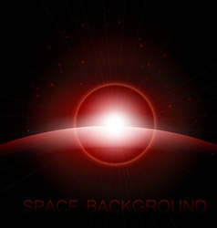 Rising Sun over the planet space background vector image