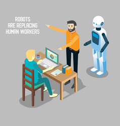 robot vs human labor isometric vector image