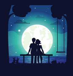 Romantic couple sitting on seaside under moonlight vector