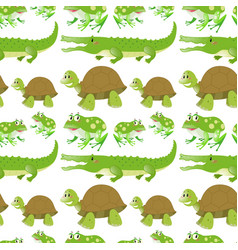 seamless background with crocodiles and turtles vector image