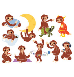 set cartoon sloths collection cute sloths vector image
