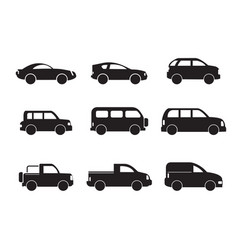 Set of black car icons - stock vector