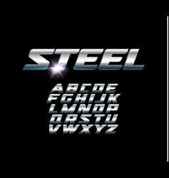 Set of steel letters font for dynamic vector