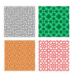 set seamless geometric pattern in islamic style vector image