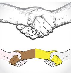 Set shaking hands vector