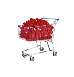 shopping cart with sale symbol inside vector image