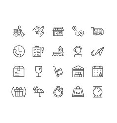 Simple set of delivery thin line icons editable vector