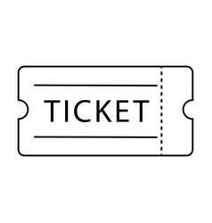 single ticket admission black outline isolated on vector image