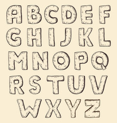 Sketch alphabet vintage engraving style vector