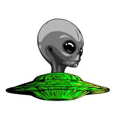 space aliens ufo icon art vector image