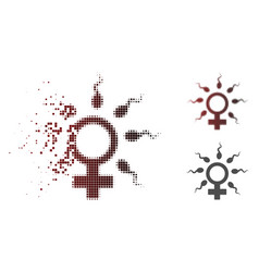 Sparkle pixel halftone sperm fertilization icon vector