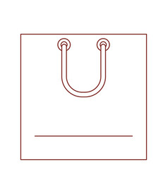 square shopping bag icon with handle in dark red vector image