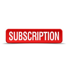 Subscription red 3d square button isolated on vector